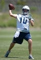 Jun 18, 2014; San Diego, CA, USA; San Diego Chargers quarterback Kellen Clemens (10) throws a pass at minicamp at Chargers Park. Mandatory Credit: Kirby Lee-USA TODAY Sports