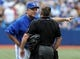 Jul 2, 2014; Toronto, Ontario, CAN;  Toronto Blue Jays manager John Gibbons argues a call with home plate umpire Greg Gibson, earning an ejection in the eighth inning of Wednesday's game with Milwaukee Brewersat Rogers Centre. Mandatory Credit: Dan Hamilton-USA TODAY Sports