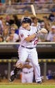 Jun 30, 2014; Minneapolis, MN, USA; Minnesota Twins right fielder Chris Parmelee (27) at bat against the Kansas City Royals at Target Field. Mandatory Credit: Brad Rempel-USA TODAY Sports