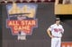 Jun 30, 2014; Minneapolis, MN, USA; Minnesota Twins first baseman Joe Mauer (7) stands on second base in front of the All Star Game logo at Target Field. Mandatory Credit: Brad Rempel-USA TODAY Sports