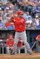 Jun 29, 2014; Kansas City, MO, USA; Los Angeles Angels third basemen David Freese (6) at bat against the Kansas City Royals during the second inning at Kauffman Stadium. Mandatory Credit: Peter G. Aiken-USA TODAY Sports