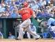 Jun 29, 2014; Kansas City, MO, USA; Los Angeles Angels designated hitter Albert Pujols (5) at bat against the Kansas City Royals during the seventh inning at Kauffman Stadium. Mandatory Credit: Peter G. Aiken-USA TODAY Sports