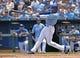 Jun 29, 2014; Kansas City, MO, USA; Kansas City Royals center fielder Jarrod Dyson (1) at bat against the Los Angeles Angels during the third inning at Kauffman Stadium. Mandatory Credit: Peter G. Aiken-USA TODAY Sports
