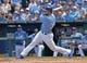Jun 29, 2014; Kansas City, MO, USA; Kansas City Royals first basemen Eric Hosmer (35) at bat against the Los Angeles Angels during the third inning at Kauffman Stadium. Mandatory Credit: Peter G. Aiken-USA TODAY Sports