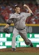 Jul 4, 2014; Cincinnati, OH, USA; Milwaukee Brewers relief pitcher Tom Gorzelanny throws against the Cincinnati Reds during the sixth inning at Great American Ball Park. Mandatory Credit: David Kohl-USA TODAY Sports