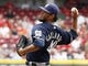 Jul 6, 2014; Cincinnati, OH, USA; Milwaukee Brewers starting pitcher Yovani Gallardo throws against the Cincinnati Reds during the second inning at Great American Ball Park. Mandatory Credit: David Kohl-USA TODAY Sports
