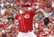 Jul 6, 2014; Cincinnati, OH, USA; Cincinnati Reds starting pitcher Mat Latos throws against the Milwaukee Brewers during the seventh inning at Great American Ball Park. The Reds won 4-2. Mandatory Credit: David Kohl-USA TODAY Sports