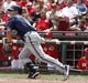 Jul 6, 2014; Cincinnati, OH, USA; Milwaukee Brewers right fielder Logan Schafer hits a double against the Cincinnati Reds during the eighth inning at Great American Ball Park. The Reds won 4-2. Mandatory Credit: David Kohl-USA TODAY Sports