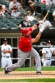Jul 1, 2014; Chicago, IL, USA; Los Angeles Angels first baseman Albert Pujols (5) during the ninth inning at U.S Cellular Field. Mandatory Credit: Mike DiNovo-USA TODAY Sports