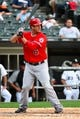 Jul 1, 2014; Chicago, IL, USA; Los Angeles Angels third baseman David Freese (6) during the fifth inning at U.S Cellular Field. Mandatory Credit: Mike DiNovo-USA TODAY Sports