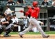 Jul 1, 2014; Chicago, IL, USA; Los Angeles Angels shortstop Erick Aybar (2) during the fifth inning at U.S Cellular Field. Mandatory Credit: Mike DiNovo-USA TODAY Sports