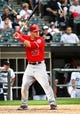 Jul 1, 2014; Chicago, IL, USA; Los Angeles Angels center fielder Mike Trout (27) during the fifth inning at U.S Cellular Field. Mandatory Credit: Mike DiNovo-USA TODAY Sports