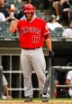 Jul 1, 2014; Chicago, IL, USA; Los Angeles Angels catcher Chris Iannetta (17) during the fifth inning at U.S Cellular Field. Mandatory Credit: Mike DiNovo-USA TODAY Sports