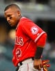 Jul 1, 2014; Chicago, IL, USA; Los Angeles Angels shortstop Erick Aybar (2) during the ninth inning at U.S Cellular Field. Mandatory Credit: Mike DiNovo-USA TODAY Sports