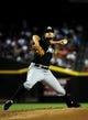 Jul 8, 2014; Phoenix, AZ, USA; Miami Marlins relief pitcher Brad Hand (52) throws during the first inning against the Arizona Diamondbacks at Chase Field. Mandatory Credit: Matt Kartozian-USA TODAY Sports