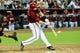 Jul 9, 2014; Phoenix, AZ, USA; Arizona Diamondbacks first baseman Paul Goldschmidt (44) hits a walk off double to beat the Miami Marlins 4-3 in the tenth inning at Chase Field. Mandatory Credit: Matt Kartozian-USA TODAY Sports