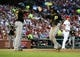Jul 10, 2014; St. Louis, MO, USA; Pittsburgh Pirates center fielder Andrew McCutchen (22) celebrates with right fielder Gregory Polanco (25) after scoring on a double by second baseman Neil Walker (not pictured) as St. Louis Cardinals starting pitcher Shelby Miller (40) looks on during the fifth inning at Busch Stadium. Mandatory Credit: Jeff Curry-USA TODAY Sports