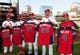 Jul 10, 2014; St. Louis, MO, USA; St. Louis Cardinals manager Mike Matheny (22), relief pitcher Pat Neshek (41), third baseman Matt Carpenter (13), starting pitcher Adam Wainwright (50) and catcher Yadier Molina (4) receive their All-Star jerseys before a game against the Pittsburgh Pirates at Busch Stadium. Mandatory Credit: Jeff Curry-USA TODAY Sports