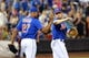 Jul 11, 2014; New York, NY, USA;  New York Mets relief pitcher Jeurys Familia (27) and third baseman David Wright (5) celebrate the win against the Miami Marlins at Citi Field. New York Mets won 7-1.  Mandatory Credit: Anthony Gruppuso-USA TODAY Sports