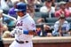 Jul 13, 2014; New York, NY, USA; New York Mets shortstop Ruben Tejada (11) heads home to score during the fourth inning against the Miami Marlins at Citi Field. Mandatory Credit: Anthony Gruppuso-USA TODAY Sports