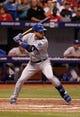 Jul 7, 2014; St. Petersburg, FL, USA; Kansas City Royals second baseman Omar Infante (14) at bat against the Tampa Bay Rays at Tropicana Field. Mandatory Credit: Kim Klement-USA TODAY Sports