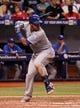 Jul 7, 2014; St. Petersburg, FL, USA; Kansas City Royals catcher Salvador Perez (13) at bat against the Tampa Bay Rays at Tropicana Field. Mandatory Credit: Kim Klement-USA TODAY Sports