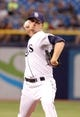 Jul 7, 2014; St. Petersburg, FL, USA; Tampa Bay Rays starting pitcher Jake Odorizzi (23) throws a pitch during the second inning against the Tampa Bay Rays at Tropicana Field. Mandatory Credit: Kim Klement-USA TODAY Sports