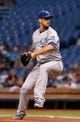 Jul 7, 2014; St. Petersburg, FL, USA; Kansas City Royals starting pitcher James Shields (33) throws a pitch during the first inning against the Tampa Bay Rays at Tropicana Field. Mandatory Credit: Kim Klement-USA TODAY Sports