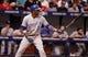 Jul 7, 2014; St. Petersburg, FL, USA; Kansas City Royals shortstop Alcides Escobar (2) at bat against the Tampa Bay Rays at Tropicana Field. Mandatory Credit: Kim Klement-USA TODAY Sports