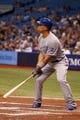 Jul 7, 2014; St. Petersburg, FL, USA; Kansas City Royals designated hitter Raul Ibanez (18) at bat against the Tampa Bay Rays at Tropicana Field. Mandatory Credit: Kim Klement-USA TODAY Sports