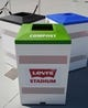 Jul 17, 2014; Santa Clara, CA, USA; Trash, recycling and compost receptacles during a tour before the ribbon cutting ceremony at Levi's Stadium. Mandatory Credit: Kelley L Cox-USA TODAY Sports