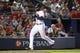 Jul 18, 2014; Atlanta, GA, USA; Atlanta Braves right fielder Jason Heyward (22) scores a run against the Philadelphia Phillies in the fifth inning at Turner Field. Mandatory Credit: Brett Davis-USA TODAY Sports