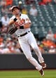 Jun 8, 2014; Baltimore, MD, USA; Baltimore Orioles second shortstop Ryan Flaherty (3) throws over to first base in the ninth inning against the Oakland Athletics at Oriole Park at Camden Yards. The Athletics defeated the Orioles 11-1. Mandatory Credit: Joy R. Absalon-USA TODAY Sports