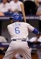 Jul 8, 2014; St. Petersburg, FL, USA; Kansas City Royals center fielder Lorenzo Cain (6) at bat against the Tampa Bay Rays at Tropicana Field. Mandatory Credit: Kim Klement-USA TODAY Sports