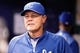 Jul 8, 2014; St. Petersburg, FL, USA; Kansas City Royals manager Ned Yost (3) in the dugout against the Tampa Bay Rays at Tropicana Field. Mandatory Credit: Kim Klement-USA TODAY Sports