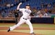 Jul 8, 2014; St. Petersburg, FL, USA; Tampa Bay Rays starting pitcher Jeremy Hellickson (58) throws a pitch during the second inning against the Kansas City Royals at Tropicana Field. Mandatory Credit: Kim Klement-USA TODAY Sports