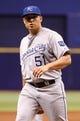 Jul 8, 2014; St. Petersburg, FL, USA; Kansas City Royals starting pitcher Jason Vargas (51) against the Tampa Bay Rays at Tropicana Field. Mandatory Credit: Kim Klement-USA TODAY Sports
