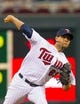 Jul 22, 2014; Minneapolis, MN, USA; Minnesota Twins starting pitcher Johan Pino (63) pitches in the fifth inning against the Cleveland Indians at Target Field. The Cleveland Indians win 8-2. Mandatory Credit: Brad Rempel-USA TODAY Sports