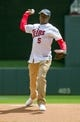 Jul 23, 2014; Minneapolis, MN, USA; Minnesota Vikings quarterback Teddy Bridgewater (5) throws out the first pitch before the game against the Cleveland Indians at Target Field. Mandatory Credit: Brad Rempel-USA TODAY Sports