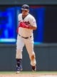 Jul 23, 2014; Minneapolis, MN, USA; Minnesota Twins right fielder Oswaldo Arcia (31) rounds second base after his home run in the sixth inning against the Cleveland Indians at Target Field. Mandatory Credit: Brad Rempel-USA TODAY Sports