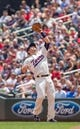 Jul 23, 2014; Minneapolis, MN, USA; Minnesota Twins second baseman Brian Dozier (2) catches a pop fly in the fifth inning against the Cleveland Indians at Target Field. Mandatory Credit: Brad Rempel-USA TODAY Sports