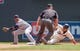 Jul 23, 2014; Minneapolis, MN, USA; Minnesota Twins right fielder Oswaldo Arcia (31) slides safely into second base in the fourth inning against Cleveland Indians shortstop Jose Ramirez (11) at Target Field. Mandatory Credit: Brad Rempel-USA TODAY Sports