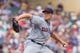 Jul 23, 2014; Minneapolis, MN, USA; Cleveland Indians relief pitcher Nick Hagadone (50) pitches in the eighth inning against the Minnesota Twins at Target Field. The Minnesota Twins win 3-1. Mandatory Credit: Brad Rempel-USA TODAY Sports