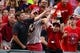 Jul 23, 2014; St. Louis, MO, USA; Fans and a usher attempt to catch a foul ball hit during the fourth inning of a game between the Tampa Bay Rays and the St. Louis Cardinals at Busch Stadium. Mandatory Credit: Jeff Curry-USA TODAY Sports