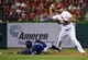 Jul 23, 2014; St. Louis, MO, USA; St. Louis Cardinals shortstop Jhonny Peralta (27) turns a double play as Tampa Bay Rays left fielder Brandon Guyer (5) slides during the ninth inning Busch Stadium. The Rays defeated the Cardinals 3-0. Mandatory Credit: Jeff Curry-USA TODAY Sports