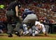 Jul 23, 2014; St. Louis, MO, USA; St. Louis Cardinals third baseman Matt Carpenter (13) is tagged out by Tampa Bay Rays catcher Jose Molina (28) during the sixth inning at Busch Stadium. The Rays defeated the Cardinals 3-0. Mandatory Credit: Jeff Curry-USA TODAY Sports