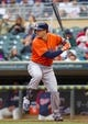Jun 7, 2014; Minneapolis, MN, USA; Houston Astros catcher Jason Castro (15) at bat against the Minnesota Twins at Target Field. Mandatory Credit: Brad Rempel-USA TODAY Sports