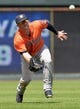 May 28, 2014; Kansas City, MO, USA; Houston Astros left fielder Robbie Grossman (19) makes a running catch for an out against the Kansas City Royals during the fifth inning at Kauffman Stadium. Mandatory Credit: Peter G. Aiken-USA TODAY Sports