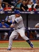 Jul 7, 2014; St. Petersburg, FL, USA; Kansas City Royals designated hitter Billy Butler (16) at bat against the Tampa Bay Rays at Tropicana Field. Mandatory Credit: Kim Klement-USA TODAY Sports