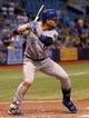Jul 8, 2014; St. Petersburg, FL, USA; Kansas City Royals second baseman Omar Infante (14) at bat against the Tampa Bay Rays at Tropicana Field. Tampa Bay Rays defeated the Kansas City Royals 4-3. Mandatory Credit: Kim Klement-USA TODAY Sports